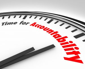 Time for Accountability words on a clock face showing importance
